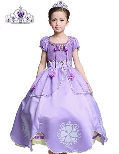 Princess Sofia Dress Up Costume Cosplay Long Dress for Girls (KD05,100) Purple