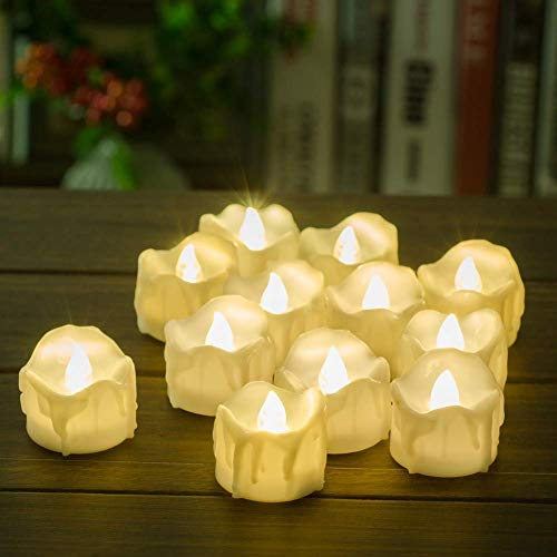 LED Electric Tea Lights with Battery Operated,Warm White Realistic and Bright Flameless Flickering Fake Wax Dripped Candles Perfect Decorative for Birthday Wedding Party Home Decor[12 Pack]