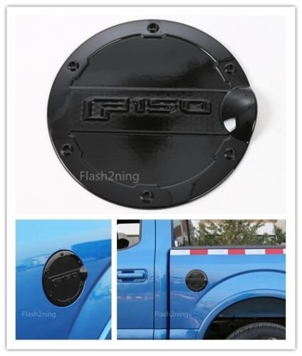 Flash2ning Gas Cap Cover Fuel Filler Tank Doors Cover Black for Ford F150 2015 2016 2017