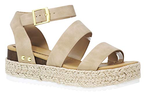 MVE Shoes Women's Strappy Ankle Buckle Espadrille Flatforms Sandals, Bryce Taupe 6.5