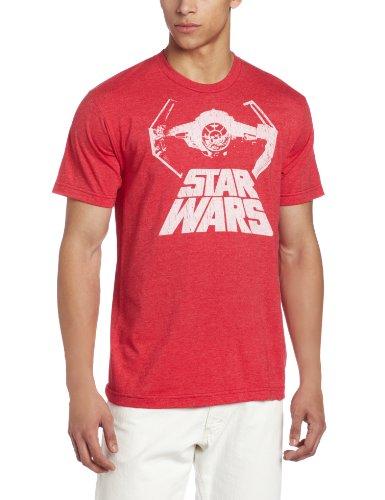 Star Wars Men's Bat Fighter T-Shirt, Red Heather, Large
