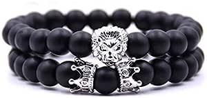 Bracelet Set Black Onyx King Crown Lion Head Charm Bracelet Silver