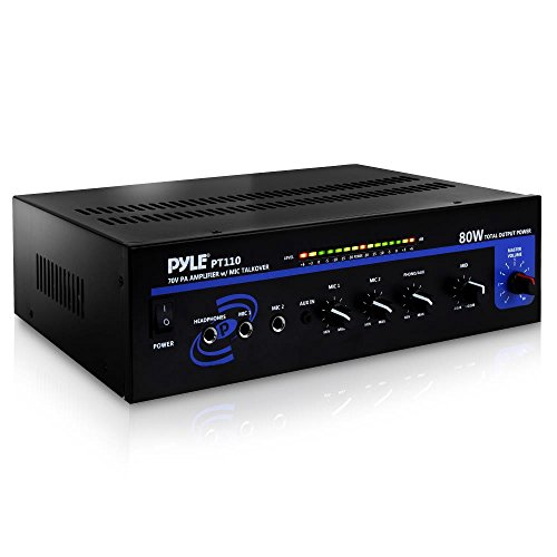 (Compact Public Address Mono Amplifier - Professional 50W Mini Home Power Audio Sound PA Speaker Receiver System w/ RCA, Headphone, 2 Microphone Inputs, Independent Volume Control - Pyle PT110)