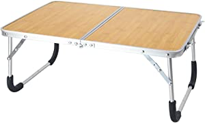 Laptop Table for Bed, Foldable Breakfast Tray Portable Mini Picnic Desk Storage Space Laptop Desk Notebook Stand Reading Holder Work from Home(Bamboo Color)