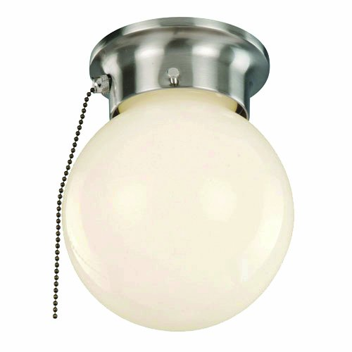 Trans Globe Glass Table Lamp - Trans Globe Lighting 3606P BN Flush Mount with Opal Glass Shade, Brushed Nickel Finished