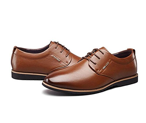 Confortables Casual Chaussures Chaussures Chaussures MUYII Pour Oxfords Brown Hommes Formelles Hommes Lacets Non Cuir Robe Slip Hommes Pq4Xw4I