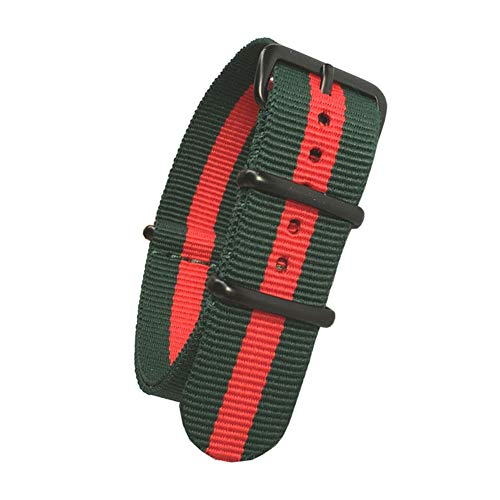 Gucci Watch Strap - Vented Design NATO Watch Bands Black 304 Stainless Steel Buckle Quick Release Replacement Nylon Straps Width 20mm 22mm 24mm (Green)