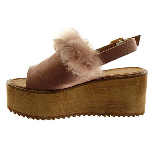 Angkorly Tobillo Correa Madera 8 Tanga Zapatillas Cm Plataforma Moda Mules toe Peep De Rosa Piel Sandalias Mujer qnYqgx1wr