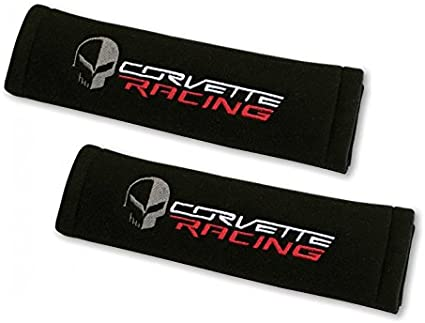 Embroidery Red Seat Belt Cover Soft Shoulder Pads Pair for Corvette Racing