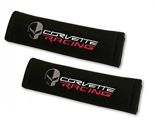 Corvette Racing Seatbelt Harness Pads with Jake Skull - Embroidered : C7, Z51, Z06, Grand Sport (Black)