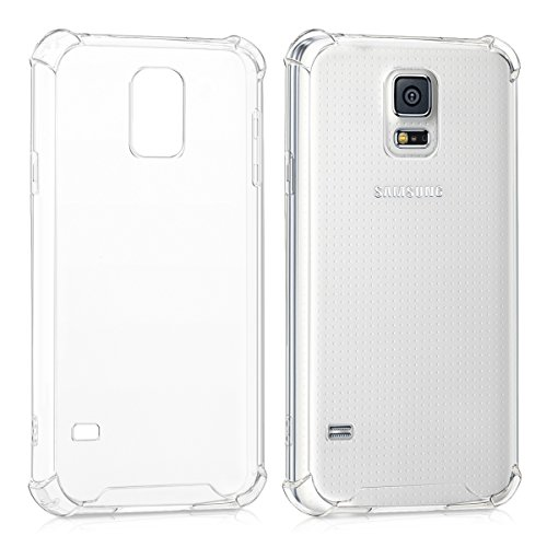 kwmobile Crystal case for Samsung Galaxy S5 / S5 Neo TPU Silicone case with Corners' Protection - Slim Transparent Smartphone Protective case Cover in Transparent