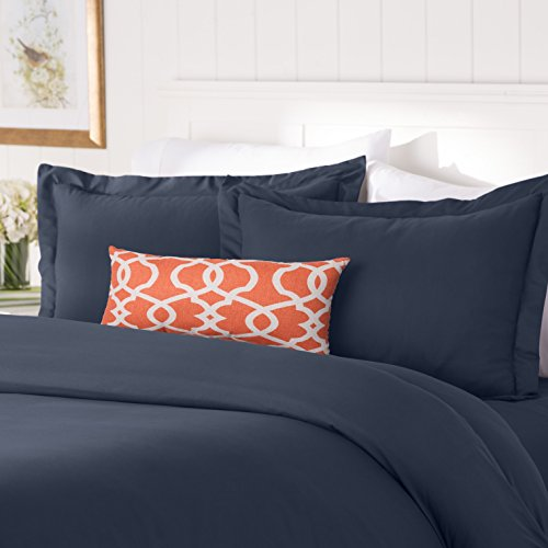 Elegant Comfort #1 Best Bedding Duvet Cover Set! 1500 Thread Count Egyptian Quality Luxurious Silky-Soft WRINKLE FREE 3-Piece Duvet Cover Set, Full/Queen, Navy Blue - Navy Blue Duvet Cover Set