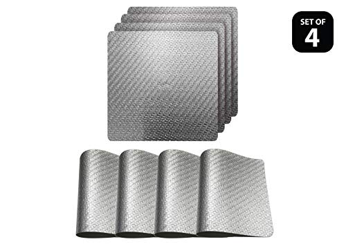 Dainty Home Metallic Basketweave Parquet Slip Resistant Dining Table Indoor Outdoor Placemats Set of 4, 15 inch Square, Textured Solid Silver (Square For Placemats Small Table)
