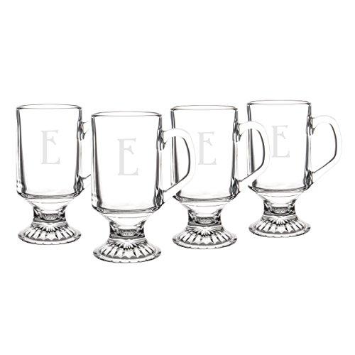 10 Oz Irish Coffee Mug - Personalized Irish Glass Coffee Mugs, Set of 4, Letter E