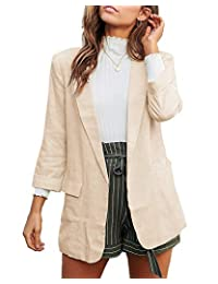 Dazosue Womens Blazer Casual Spring Lapel Long Sleeve Loose Suit with Pocket