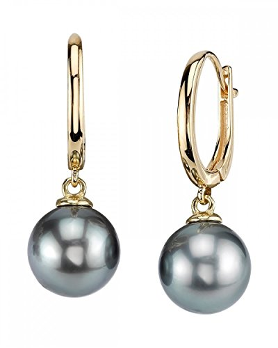THE PEARL SOURCE 14K Gold Round Genuine Black Tahitian South Sea Cultured Pearl Tania Earrings for Women (yellow-gold, 12.0-13.0mm)
