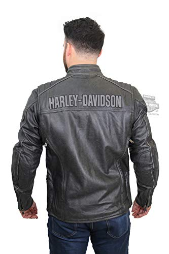 Harley-Davidson Mens Midway Distressed with Reflective Piping Charcoal Leather Jacket (Large) (Harley Davidson Leather Jackets For Men Sale)