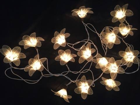 Natural Cream Flower Leaf String Lights 9-foot Long , Thai Decorated by Thai Decorated