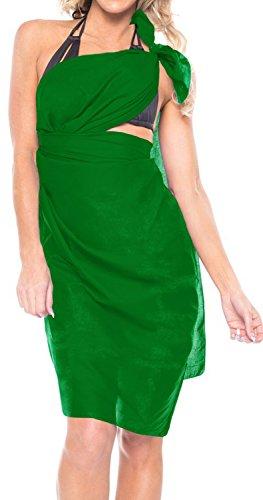 La Leela Cubre 100% algodón liso nadada de la playa de la falda del abrigo de la bufanda del sarong a las mujeres Mar Verde