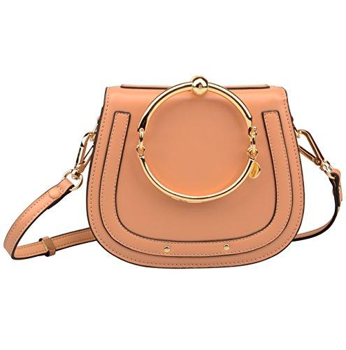 Ainifeel Women's Leather Handbags With Bracelet Handle On Clearance (Cream (Chole Bag)
