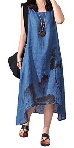 Women's Summer Casual Floral Sleeveless Long Length Loose Dress