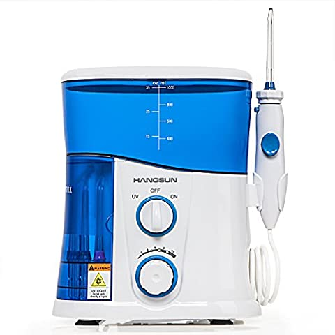 HANGSUN Dental Water Flosser Professional Oral Irrigator with Tooth Cleaning and Disinfection Function - 10 Pressure Setting,1000 ml Tank,7 Nozzles