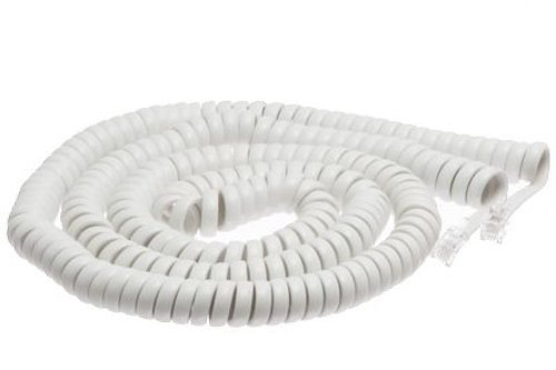 ECore Cables White Coiled Telephone Handset Cord - 25 Foot Long Length - 1.5 Inch Flat Leader (Handset Coiled White)
