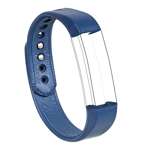 for Fitbit Alta/Fitbit Alta HR Bands, Wearlizer Genuine Leather Smart Watch Replacement Strap Wristband for Fitbit Alta - Large Blue