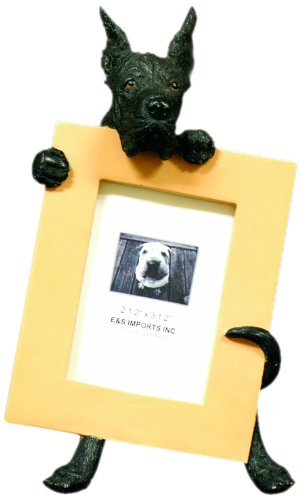 - Black Great Dane Picture Frame Holds Your Favorite 2.5 by 3.5 Inch Photo, Hand Painted Realistic Looking Great Dane Stands 6 Inches Tall Holding Beautifully Crafted Frame, Unique and Special Great Dane Gifts for Great Dane Owners