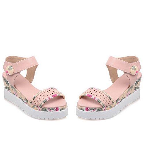 Allhqfashion Donna Morbido Materiale Uncinetto Open-to-loop Open Toe Tacchi Assortiti Sandali Di Colore Rosa