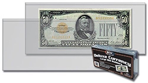 (25) Deluxe US Currency Paper Money Bill Holder Protectors for Older Large Bills by BCW