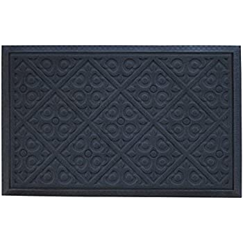 Alpine Neighbor Door Mat | Washable Indoor/Outdoor Low Profile Doormat with Fleur-de-lis Door Inspired Design Entrance Rug for Home Front Entry Garage Outside Patio Inside Floor Non-Slip Rubber (Gray)