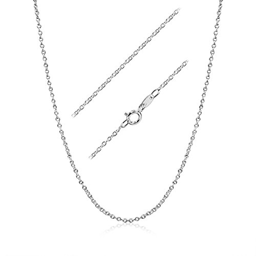 Solid Sterling Silver Cable Chain (Sterling Silver 1.3mm Fine Open Cable Chain 17)
