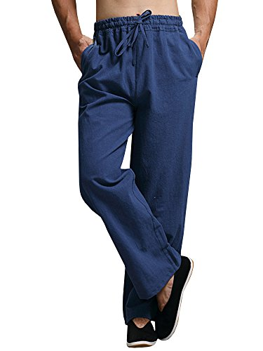 Enjoybuy Mens Summer Cotton Linen Long Casual Pants Elastic Waist Loose Fit Beach Pants (Large, 02-Blue) ()