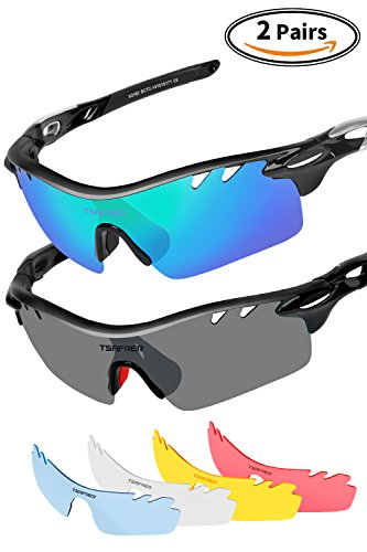 Sports Sunglasses 2 Pairs Polarized Sports Sunglasses with 4 Interchangeable Lenses, Tr90 Unbreakable Sunglasses for Men Women Cycling Driving Running Golf Sunglasses By Tsafrer (Blue Green - Value Sunglasses Best Polarized