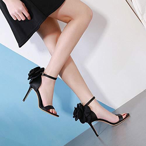 Sandales Size Black Talons Black Hauts 40 Stiletto Felicigg Grandes color Fleurs Élégantes Femme À B1qnYPwxp