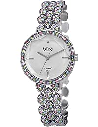 Designer Women's Watch – Swarovski Crystal Studded Case and Strap with Diamond Marker – Stainless Steel Bracelet, Mother of Pearl Dial -BUR232SS