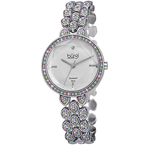 Burgi Designer Women's Watch - Swarovski Crystal Studded Case and Strap with Diamond Marker - Stainless Steel Bracelet, Mother of Pearl Dial -