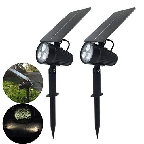 Solar Spotlight, MII 2-in-1 Waterproof Solar Outdoor Landscape Light 2 Power Modes Auto ON/Off Night Lights for Patio Yard Garden Decoration Driveway Pathway Pool (Pack of 2)