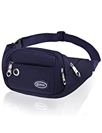 Large Capacity Fanny Pack for Women Men CAMORF Black Waist Pack with 4 Pockets - Water Resistant Running Belt Fits MAX 7.9'' iPad & 6.6'' Cellphone iPhone - Waist Bag for Running Hiking Cycling Travel Activities (Dark blue fanny pack)