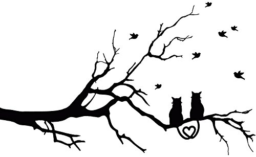 Love Cats Birds Resting On Tree Branch Wall Decal Sticker Decor (Large) (Bird Resting)