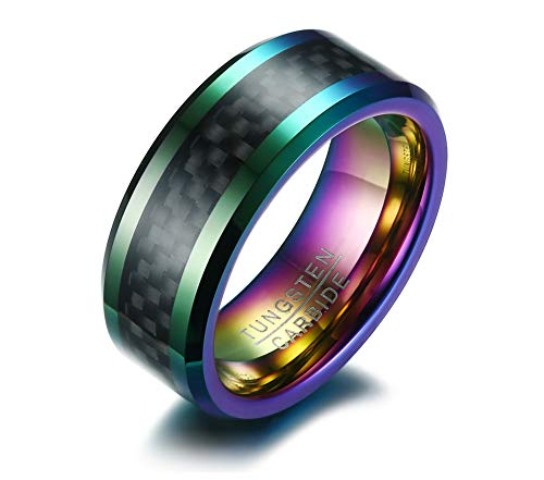 Mealguet Jewelry 8MM Rainbow Colorful Carbon Fiber Inlay Beveled Edge Tungsten Carbide Wedding Ring Band for Men,Size 10