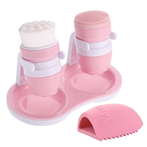 Hisight Facial Cleansing Brush Makeup Brush Cleaning egg Silicone&Nylon Massage Face Skin Care Deep Pore Cleaning Gently Exfoliate Tools with Holder Stand for face and body (pink)