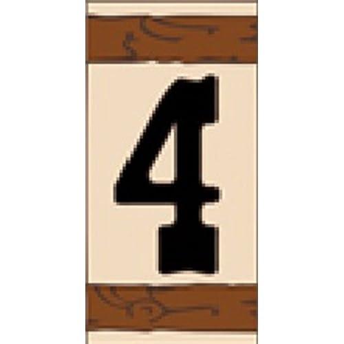 """3"""" X 6"""" Ceramic Tile Address House Number WESTERN Design #4 - FOUR"""