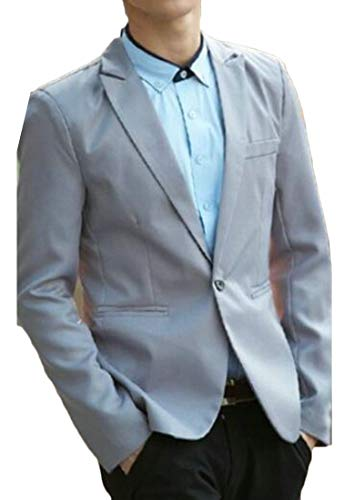 Down Tall Blazer Pure GRMO Office Collar Jacket Men Turn Color Button US Grey One L Big P0UUEqvx