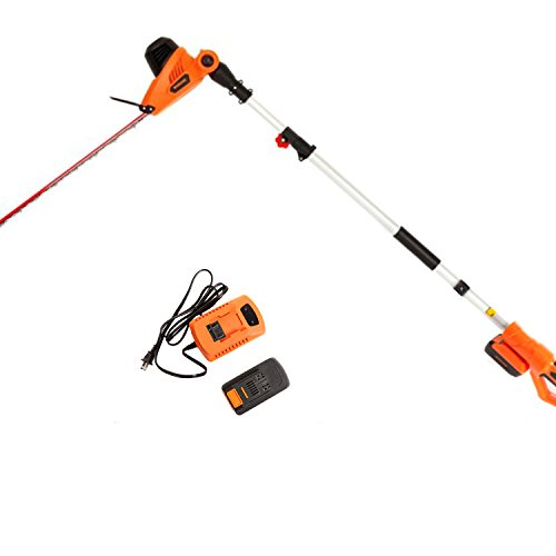 NBCYHTS 20V Li-ion Cordless Pole Hedge Trimmer with Dual Blade Action Blades, 24″