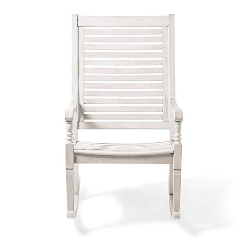(Traditional Bayside Weathered White Hardwood Rocking Chair Porch Rocker Outdoor Patio Furniture)