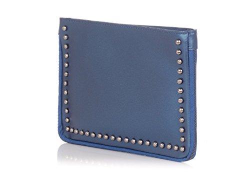 en Bleu avec Pochette cloutés cuir Laura côtés Moretti bandoulière Ew4qx6x
