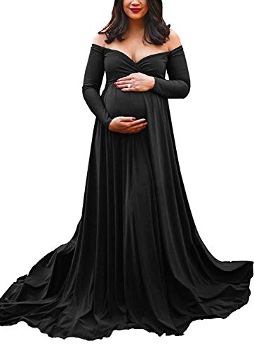 Saslax Maternity Off Shoulders Long Sleeve Half Circle Gown for Baby Shower Photo Props Dress Black XL