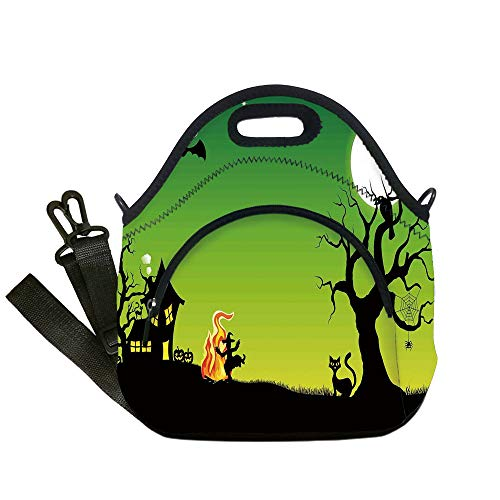 Insulated Lunch Bag,Neoprene Lunch Tote Bags,Halloween Decorations,Witch Dancing with Fire at Halloween Ancient Western Horror Image,Green Black,for Adults and children -